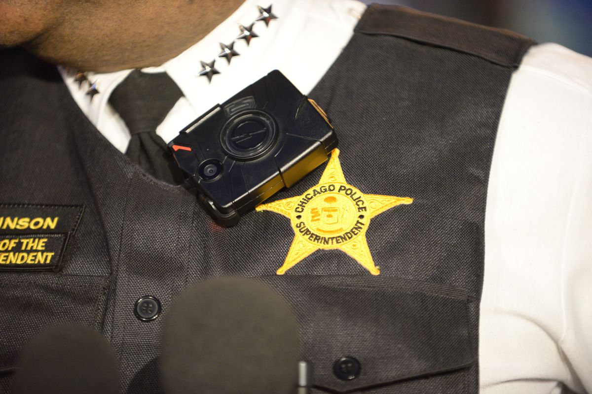 Chicago Police Supt. Eddie Johnson wearing a body camera before going out on patrol.