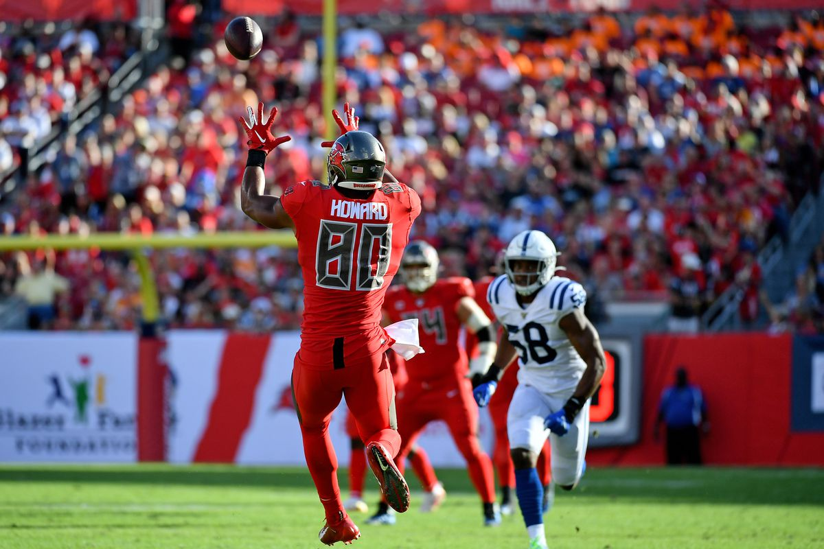 Tampa Bay Buccaneers tight end O.J. Howard makes a catch against the Indianapolis Colts during the second half at Raymond James Stadium.
