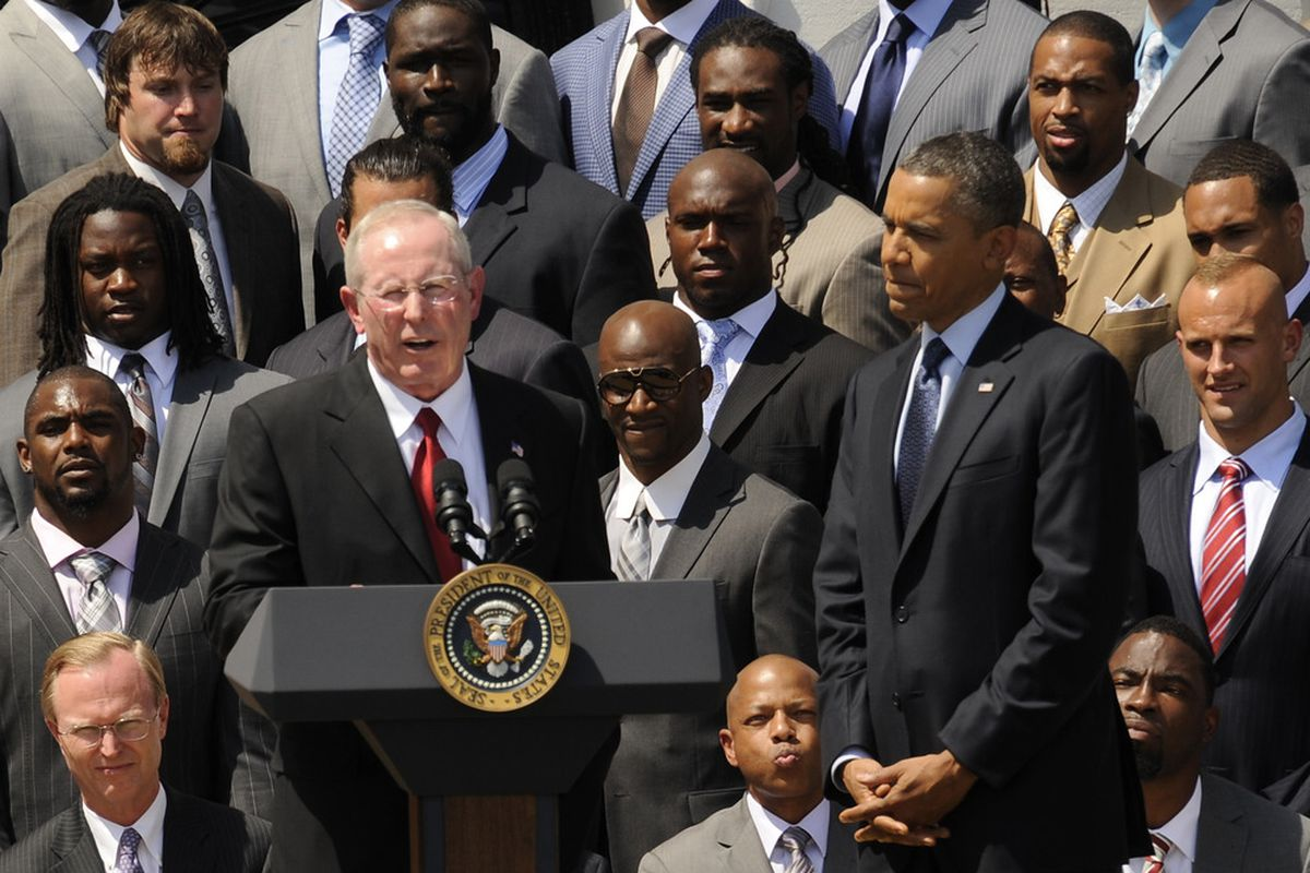 Tom Coughlin at the White House with President Obama