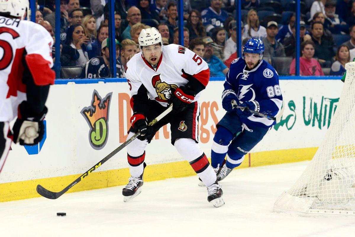 The Lightning's Nikita Kucherov chases Ottawa's Cody Ceci during Tampa Bay's 4-1 win over the Senators Thursday.