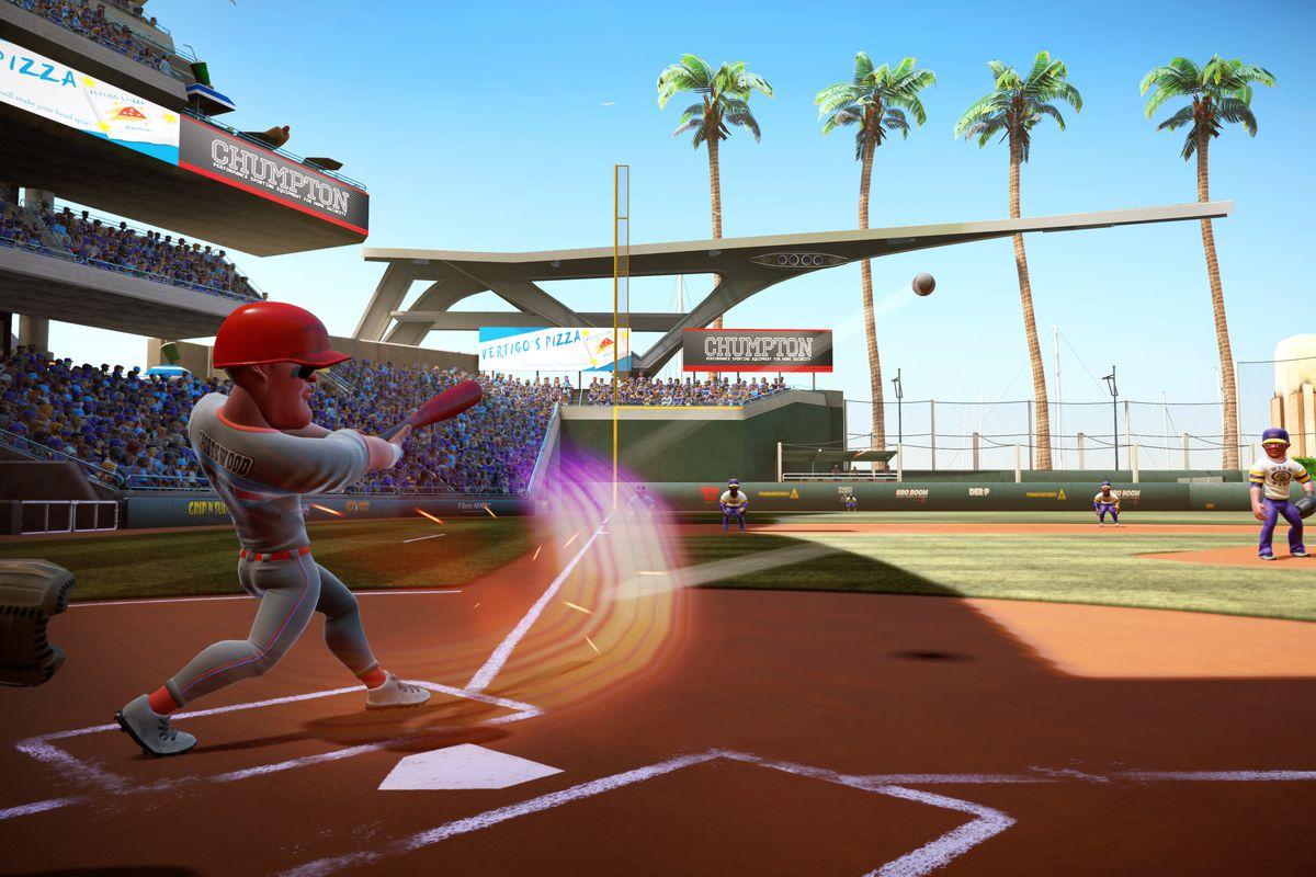 Super Mega Baseball 2 - batter launches a fly ball toward center field