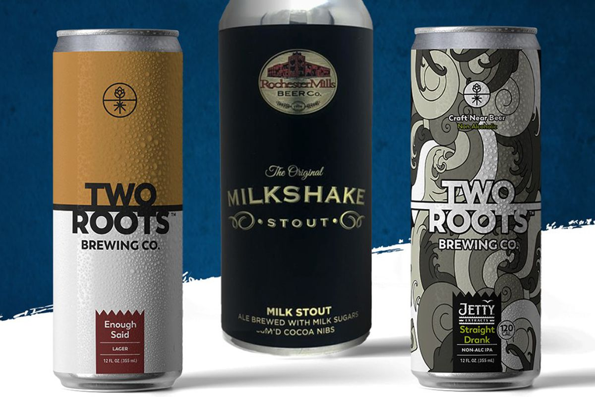 A yellow and white can for Two Roots, a Milkshake Stout can from Rochester Mills, and a gray can with a wavy illustration for Two roots on a blue and white background.