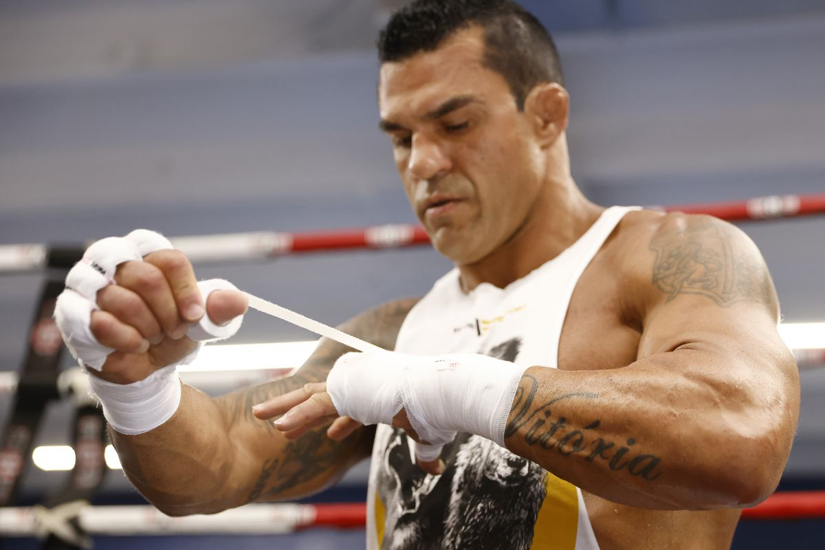 Vitor Belfort trains during his media workout in advance of his September 11th fight against Oscar De La Hoya at Boca Pal Boxing Gym on August 26, 2021 in Boca Raton, Florida.