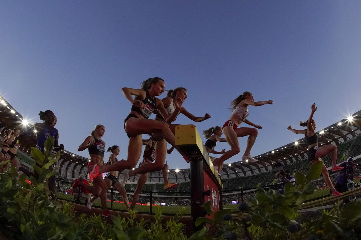 Runners compete in the women's 3000-meter steeplechase at the U.S. Olympic Track and Field Trials.