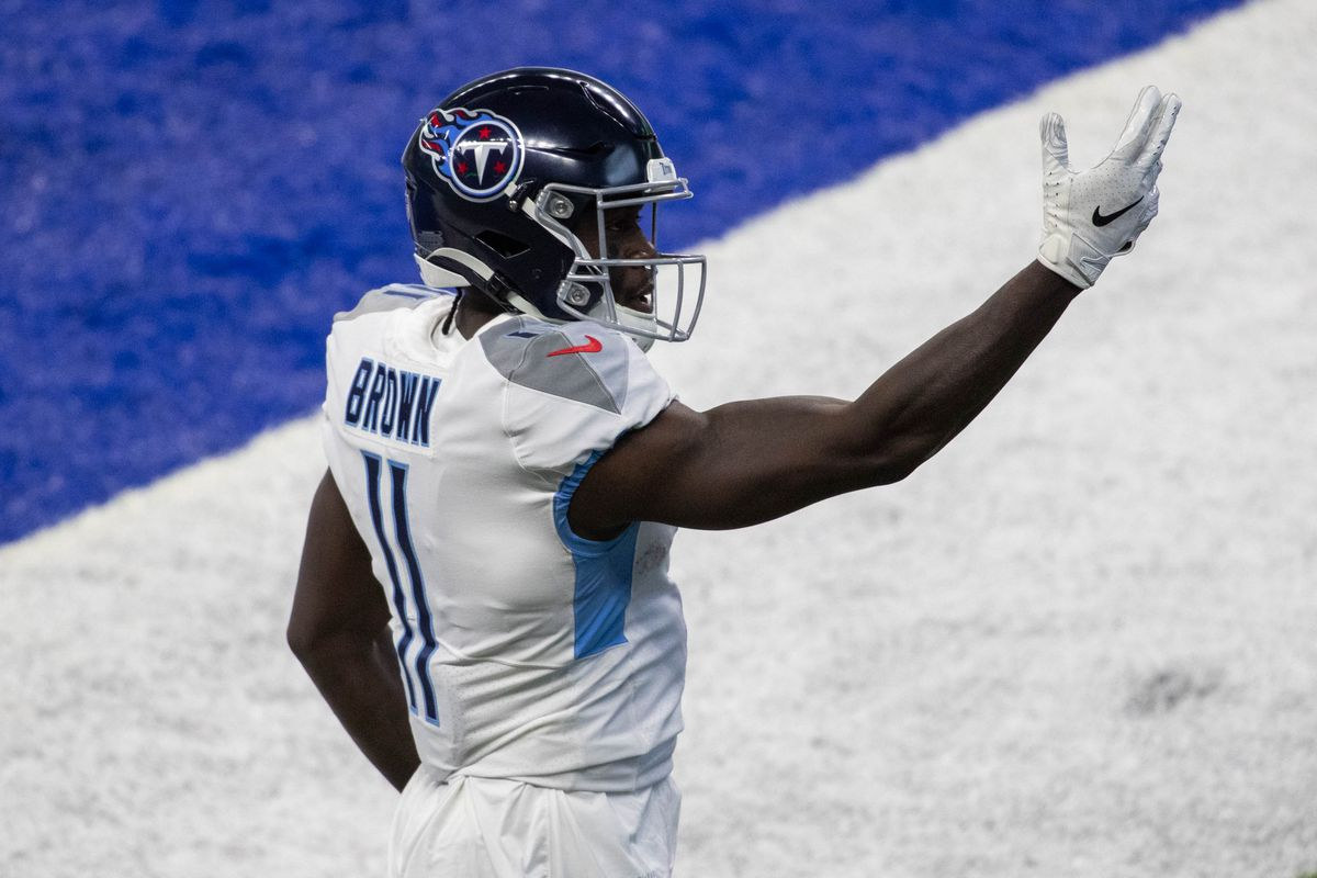 Tennessee Titans wide receiver A.J. Brown celebrates his touchdown against the Indianapolis Colts in the first half at Lucas Oil Stadium.