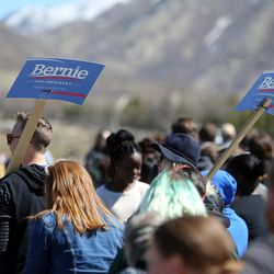 Crowds line up before Democratic candidate for president Sen. Bernie Sanders of Vermont gives a speech to supporters at This is the Place Heritage Park in Salt Lake City, Friday, March 18, 2016.