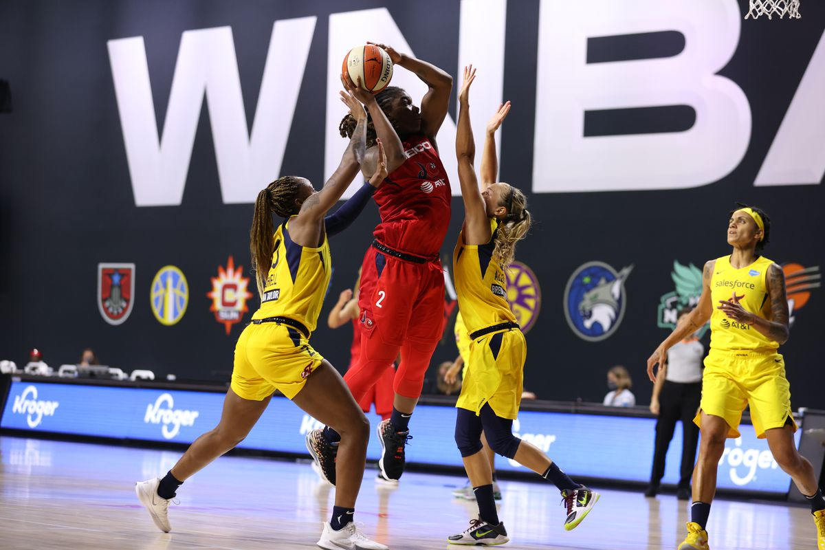 Myisha Hines-Allen #2 shoots the ball against the Indiana Fever on July 25, 2020 at Feld Entertainment Center in Palmetto, Florida.
