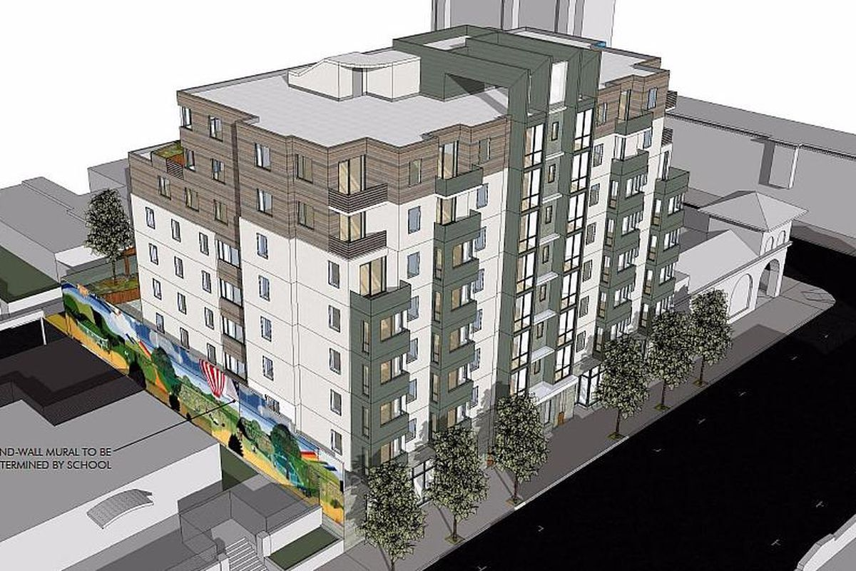 A rendering of an eight-story condo building in the Mission.