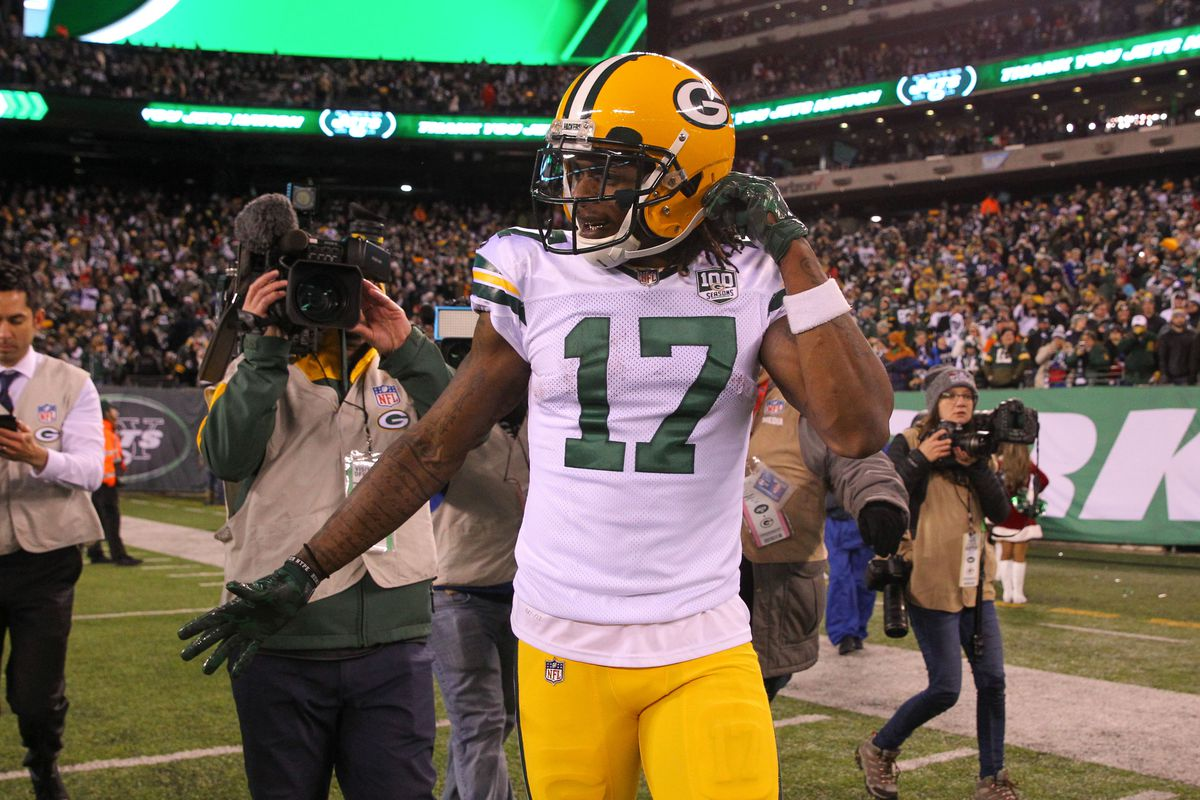 Green Bay Packers wide receiver Davante Adams celebrates his game winning touchdown during overtime of their game against the New York Jets at MetLife Stadium.