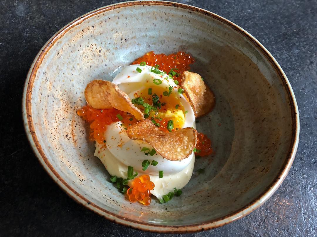 Egg with trout roe, potato, and mayo at Drifters Wife