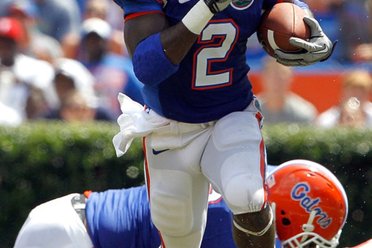 GAINESVILLE FL - SEPTEMBER 11:  Jeffery Demps #2 of the Florida Gators runs during a game against the South Florida Bulls at Ben Hill Griffin Stadium on September 11 2010 in Gainesville Florida.  (Photo by Sam Greenwood/Getty Images)