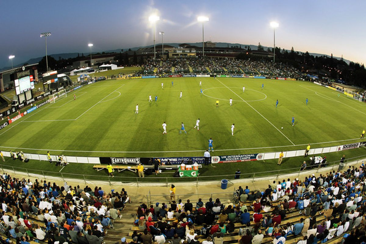 SANTA CLARA CA - JULY 03:  The San Jose Earthquakes take on the D.C. United in the second half on July 3 2010 at Buck Shaw Stadium in Santa Clara California.  The teams played to a 1-1 draw.  (Photo by Brian Bahr/Getty Images)