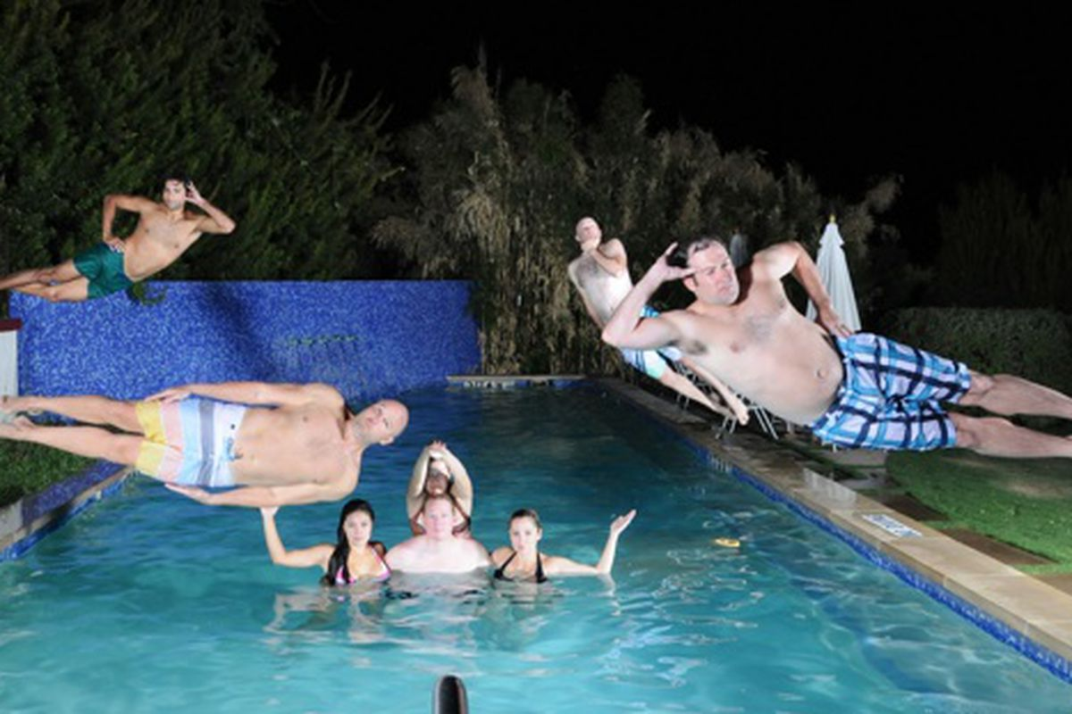 Leisure divers dive in a leisurely fashion at the Belmont Hotel pool.