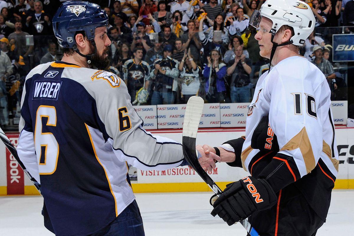 With this secret handshake, Shea Weber becomes an Anaheim Duck