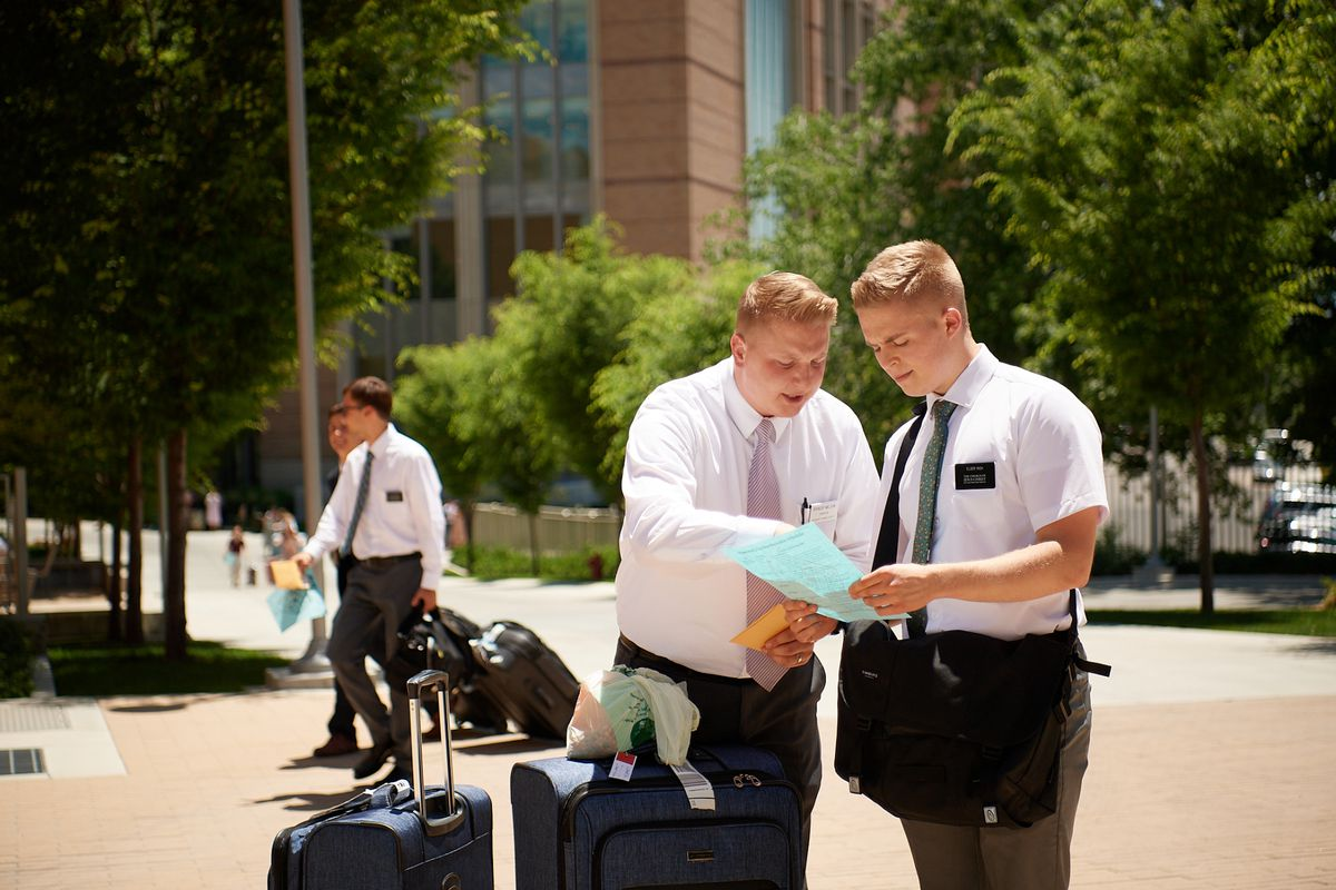 Elder Rich, a Latter-day Saint missionary, is shown check-in instructions upon his arrival at the Provo MTC.