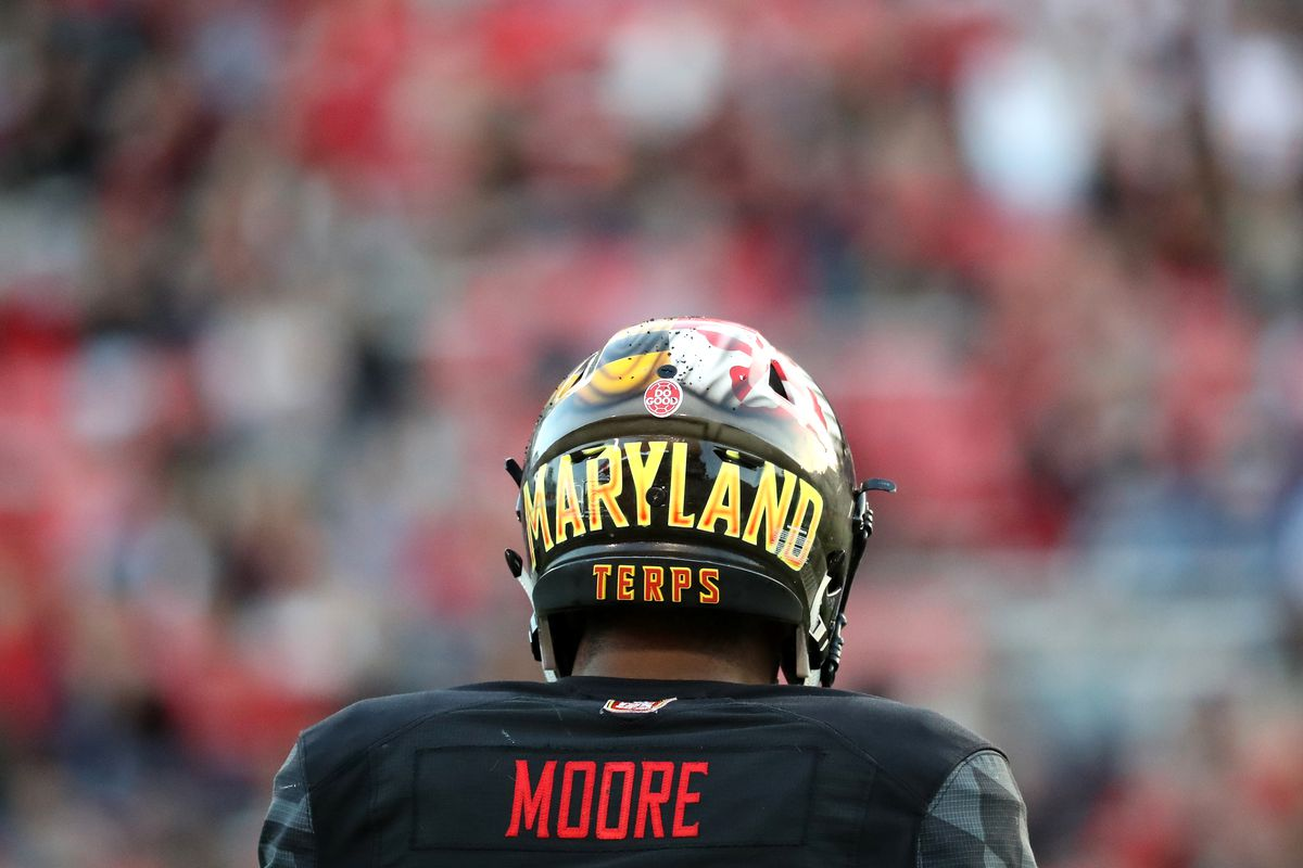 COLLEGE PARK, MD - Maryland Terrapins wide receiver D.J. Moore (1) lines up against the Northwestern Wildcats defense at Capital One Field.