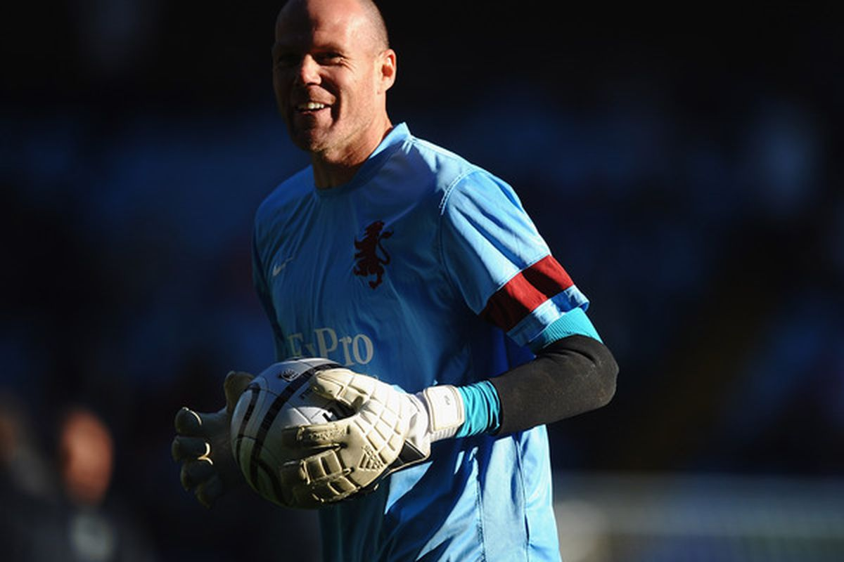 Brad Friedel gets a rare start in the Carling Cup, helping Aston Villa beat Burnley 2-1 in added extra time. (Photo by Laurence Griffiths/Getty Images)