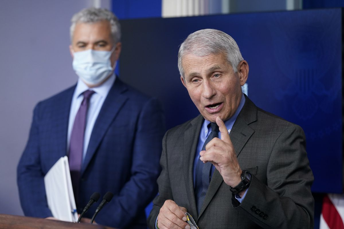 Dr. Anthony Fauci, director of the National Institute of Allergy and Infectious Diseases, speaks alongside White House COVID-19 Response Coordinator Jeff Zients during a press briefing at the White House, Tuesday, April 13, 2021, in Washington.