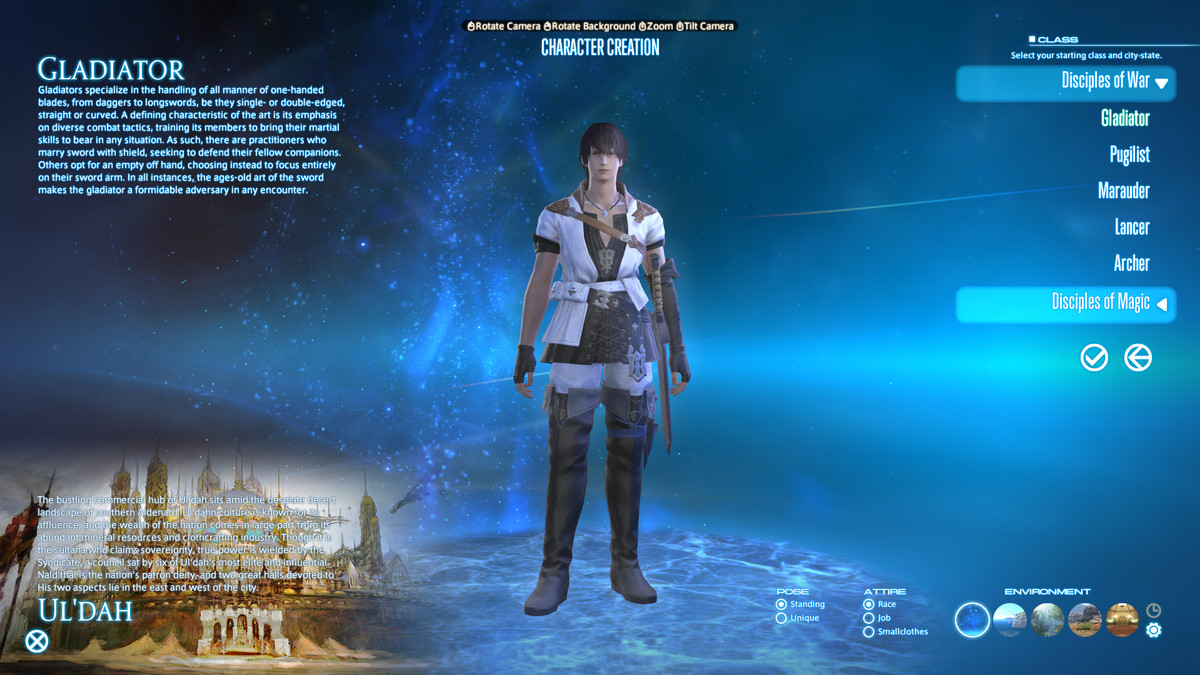 The class creation screen in Final Fantasy 14