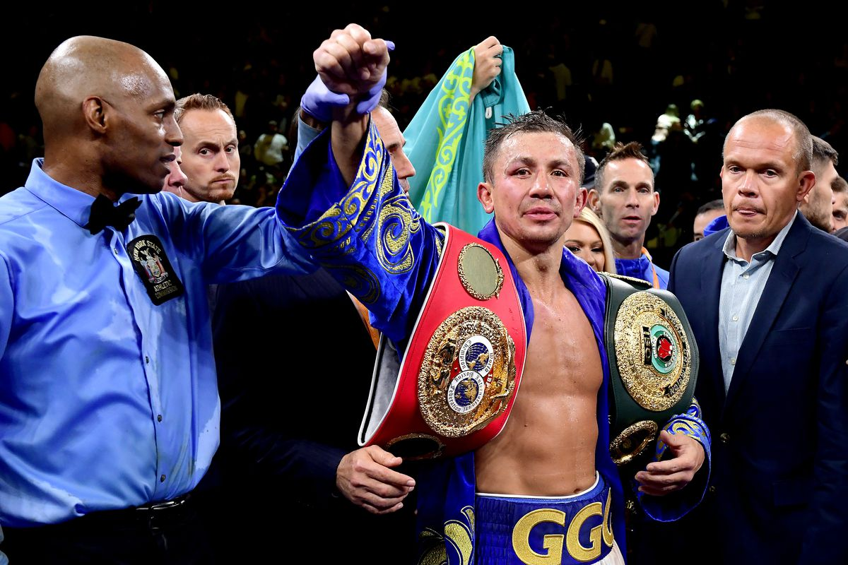 Gennady Golovkin is awarded victory in his IBF middleweight title bout against Sergiy Derevyanchenko at Madison Square Garden on October 05, 2019 in New York City.