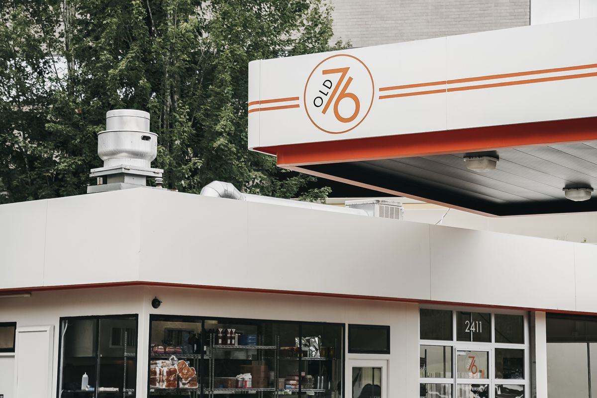 Pictured is the exterior of Old 76, a new burger spot on Mercer Island in a former gas station.