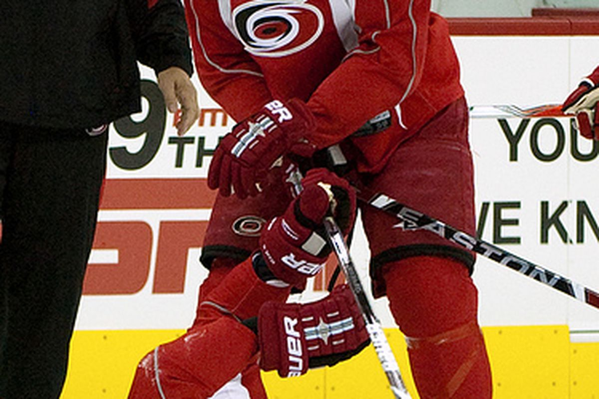 """Sept 25 Training Camp at the RBC Center. Matt Cullen """"takes down"""" teammate Eric Staal as they practice face-offs. Thanks once more to  <a href=""""http://farm4.static.flickr.com/3515/3963987181_ef5e21eb6c.jpg"""">LTD!</a>"""