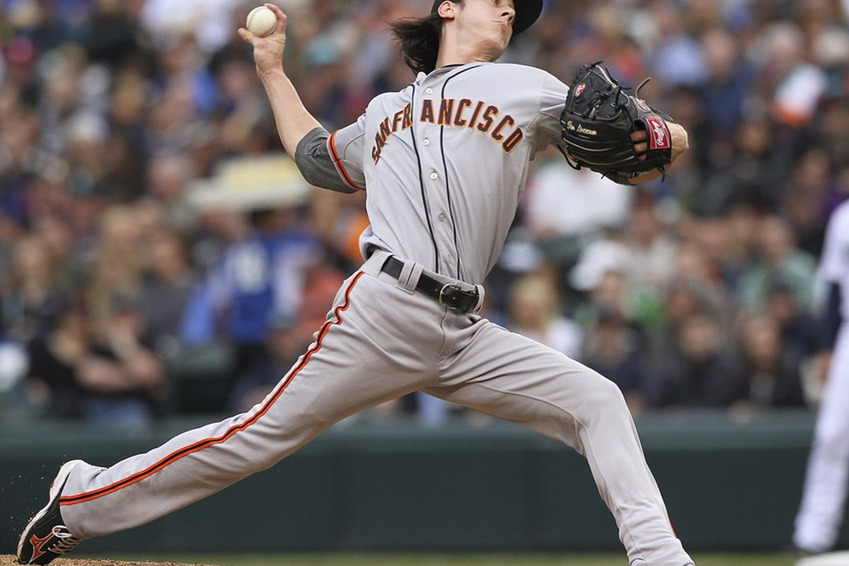 SEATTLE, WA - JUNE 16:  Starting pitcher Tim Lincecum #55 of the San Francisco Giants pitches against the Seattle Mariners at Safeco Field on June 16, 2012 in Seattle, Washington. (Photo by Otto Greule Jr/Getty Images)