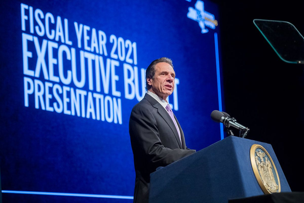 Gov. Andrew Cuomo proposes his fiscal year 2021 budget in Albany, January 18, 2020.