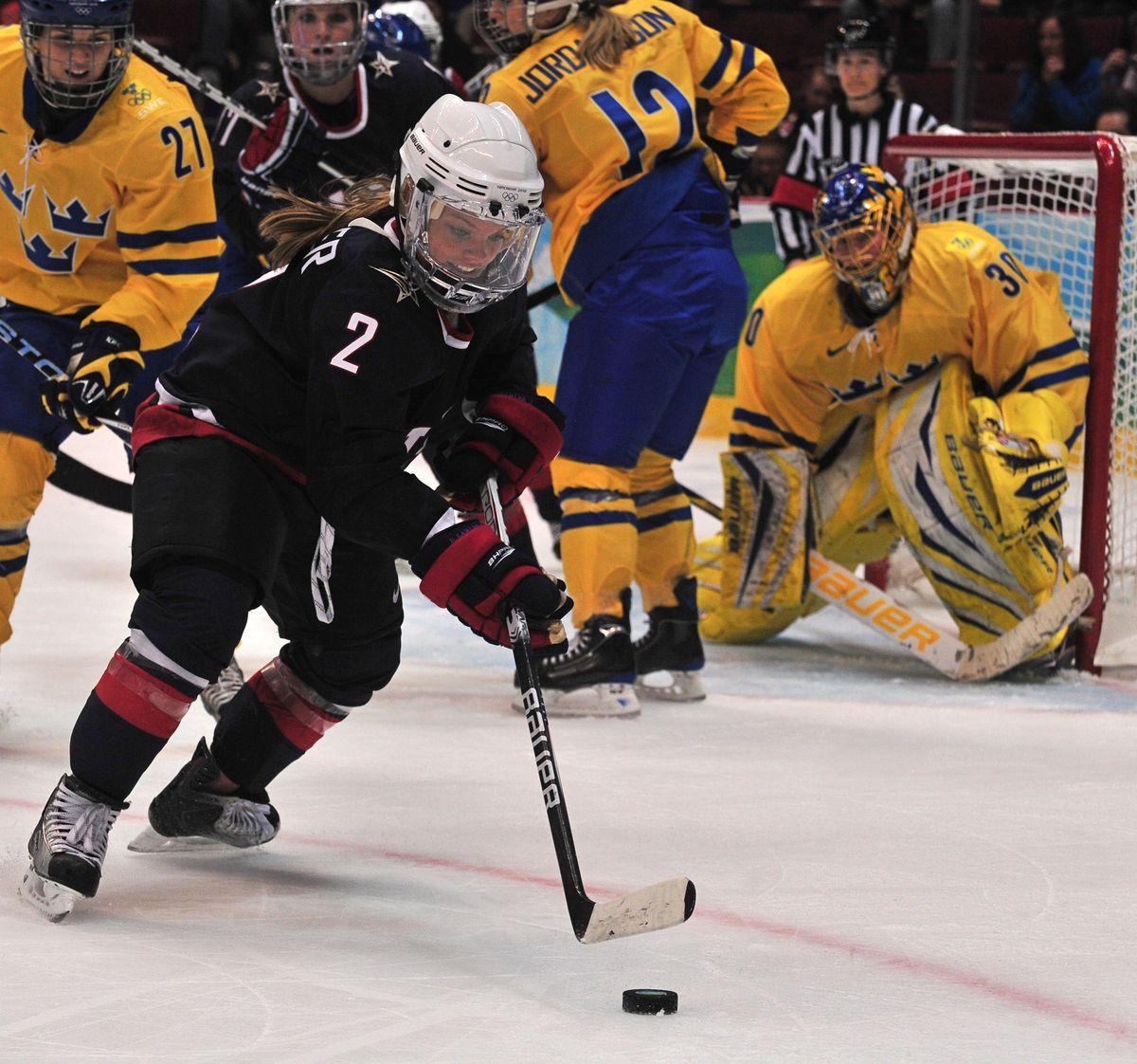 USA's forward Erika Lawler (2) skates wi
