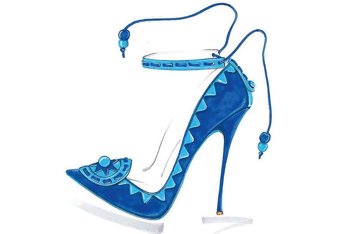 "Shoe sketch, via <a href=""http://www.wwd.com/retail-news/specialty-stores/j-crew-teams-with-sophia-webster-7128453"">WWD</a>"