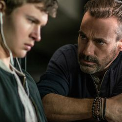 """Buddy (Jon Hamm) confronts Baby (Ansel Elgort) in """"Baby Driver."""""""