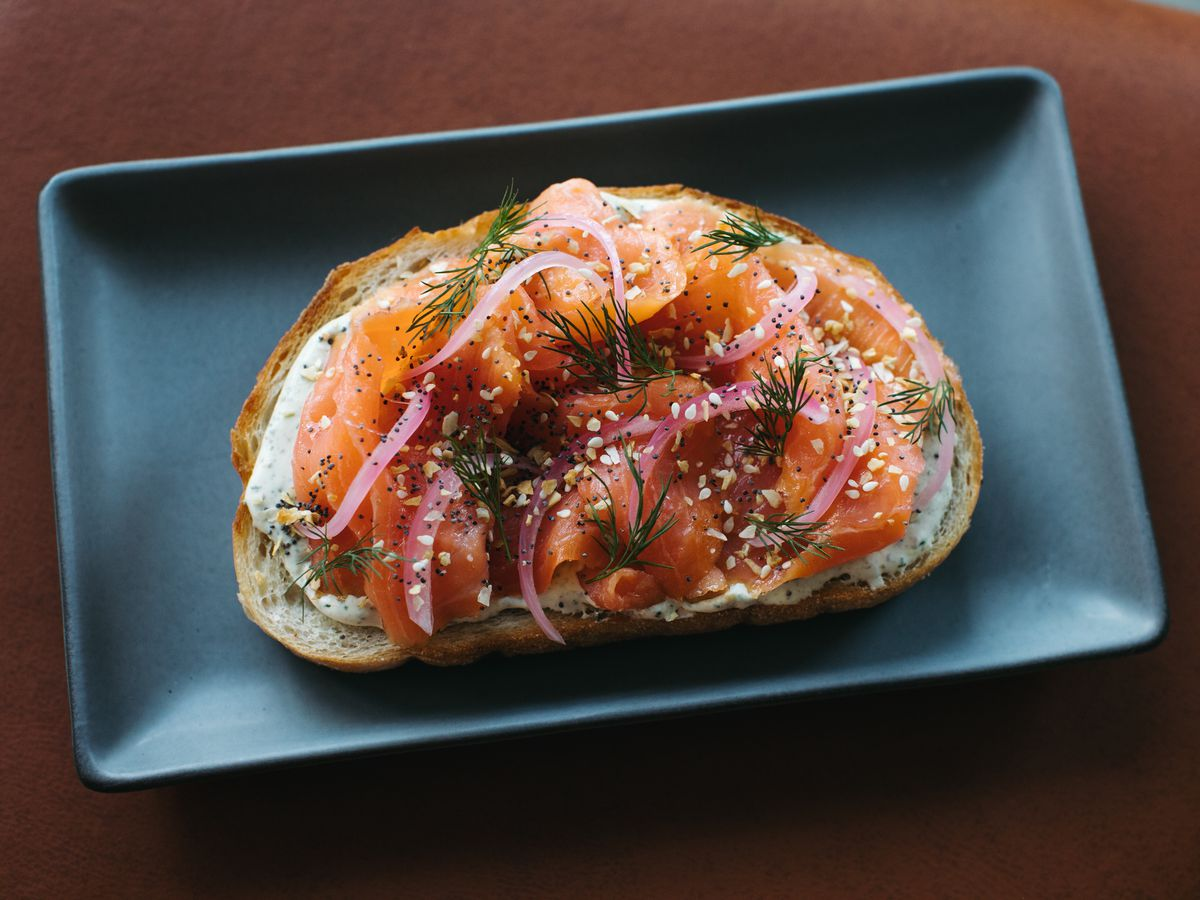 Smoked Salmon Toast with pickled red onion, dill-caper cream cheese