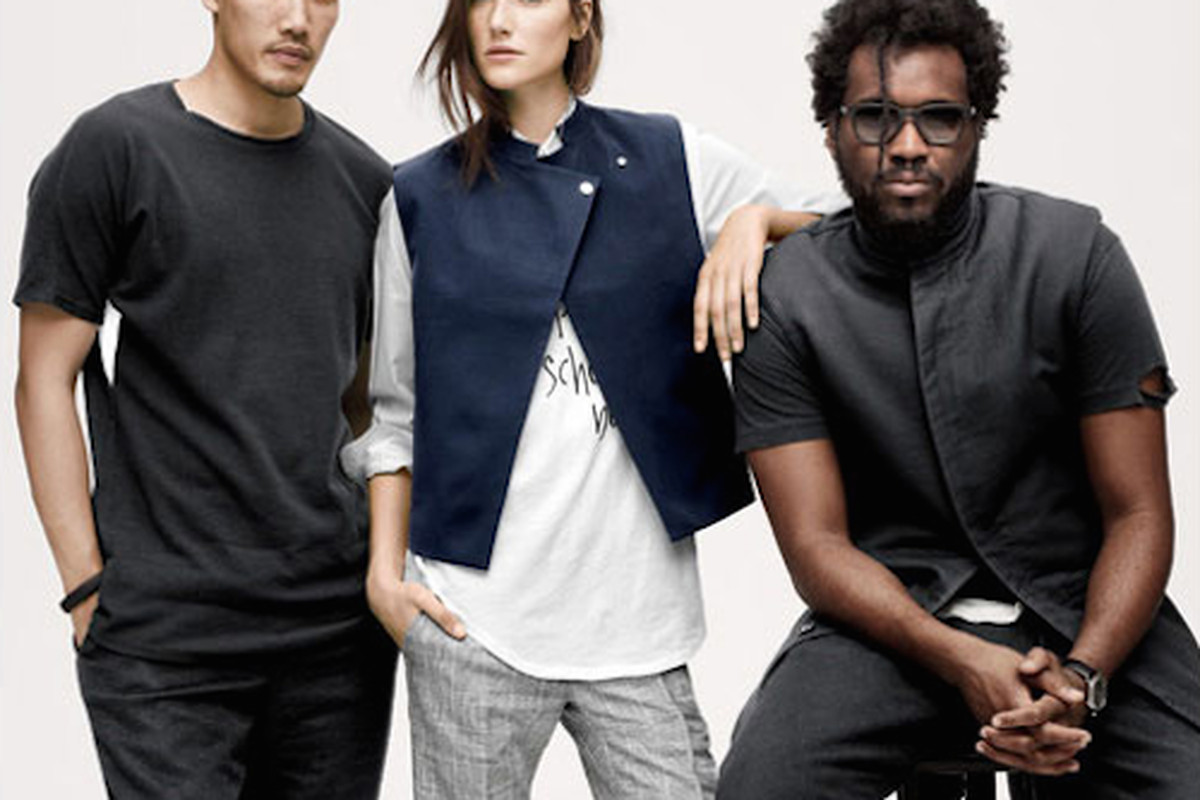 """The designers of Public School with a model wearing their J. Crew looks; Image via <a href=""""https://www.jcrew.com/womens_feature/CFDALanding_sm.jsp"""">J. Crew</a>"""