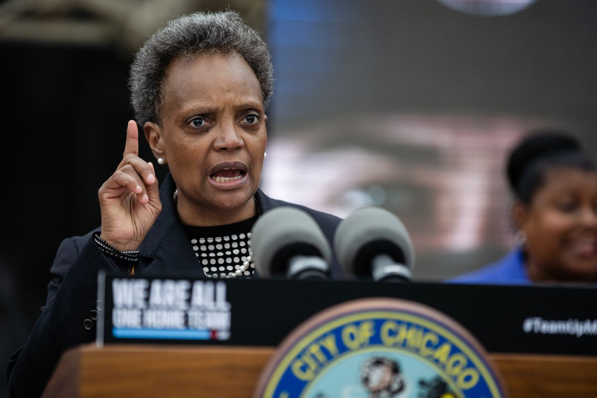 """Chicago Mayor Lori Lightfoot launched an awareness campaign on July 21, 2020, called """"We Are All One Team"""" that encourages young people to wear masks, maintain social distance and stop gathering in large groups to help prevent the spread of COVID-19."""