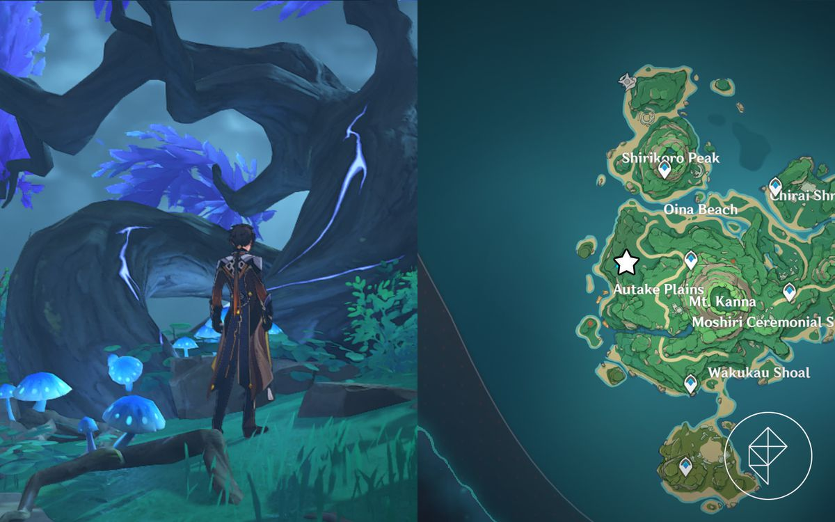 Zhongli stands in front of a purple tree on the left while a map marking the tree's location in Autake Plains is on the right
