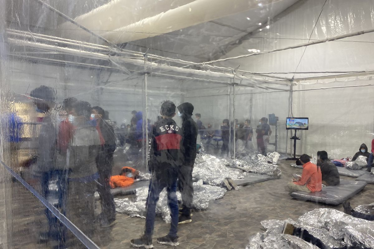Inside the United States Customs and Border Protection temporary overflow facility in Donna, Texas.