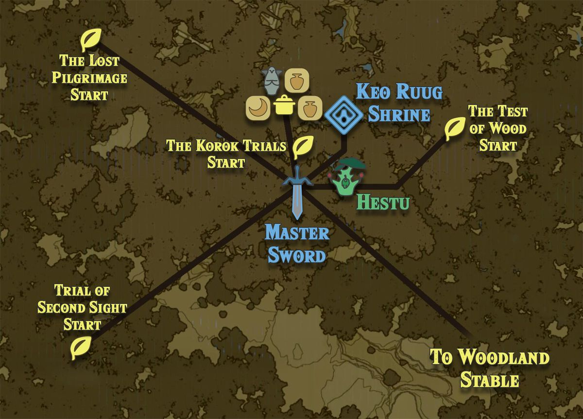 Lost Woods Map Zelda Breath of the Wild guide: Korok Forest location and map