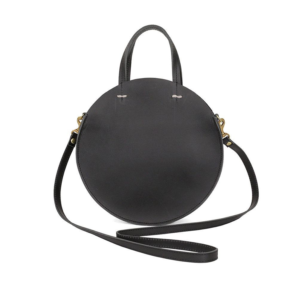 black circle leather bag