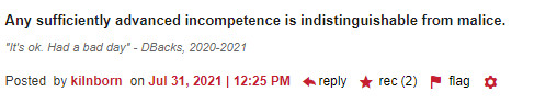 Any sufficiently advanced incompetence is indistinguishable from malice (2 recs)