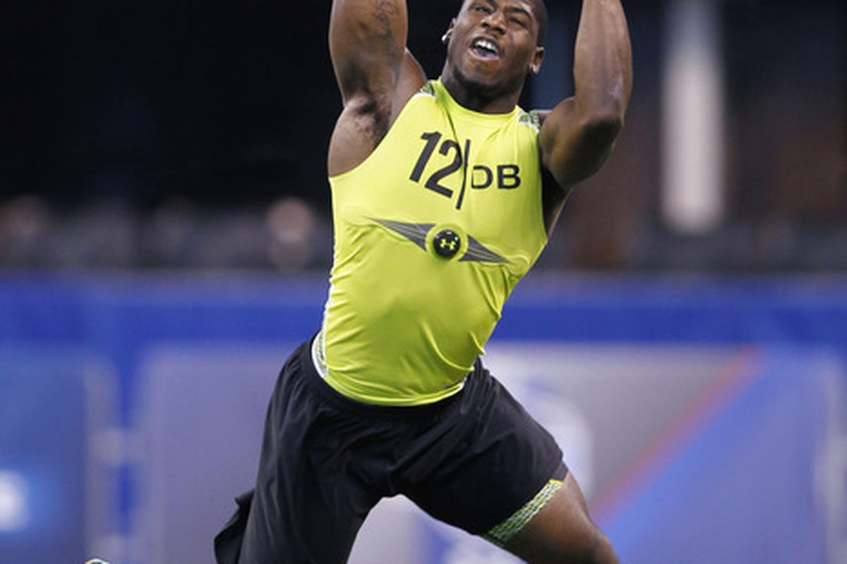 INDIANAPOLIS, IN - FEBRUARY 28: Defensive back Alfonzo Dennard of Nebraska participates in a drill during the 2012 NFL Combine at Lucas Oil Stadium on February 28, 2012 in Indianapolis, Indiana. (Photo by Joe Robbins/Getty Images)