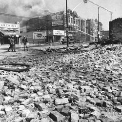 Bricks and building debris on West Madison Street and Albany.