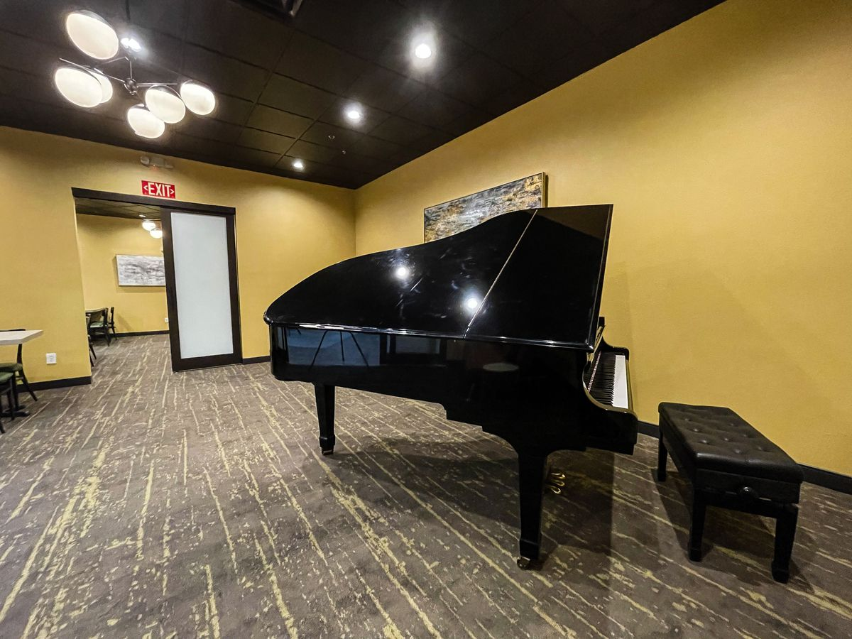 A piano in a private dining room