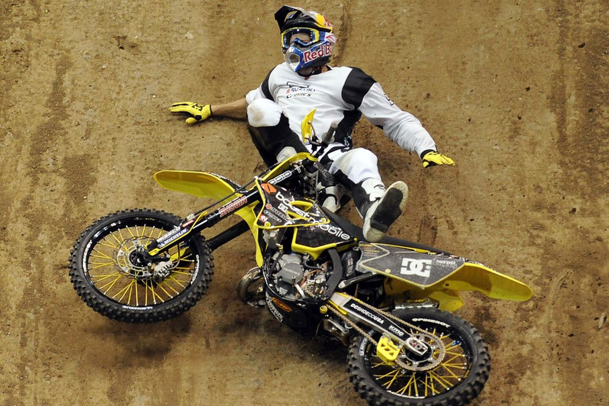 Travis Pastrana is injured after a fall in the Moto X Best Trick Final during day 1 of the X Games 17 at the Staples Centrer in Los Angeles
