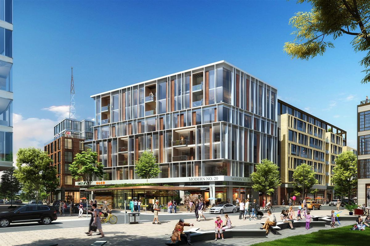 Rendering of a multi-story, rectangular building.