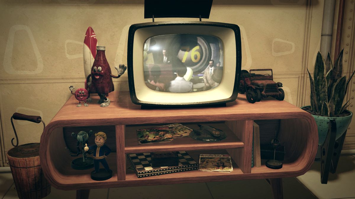 Fallout 76 teaser - entertainment center with TV on it