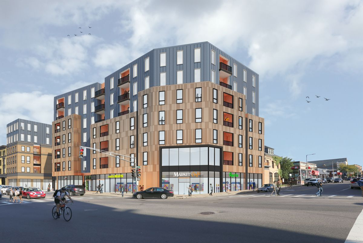 A rendering of the Allston Square project.