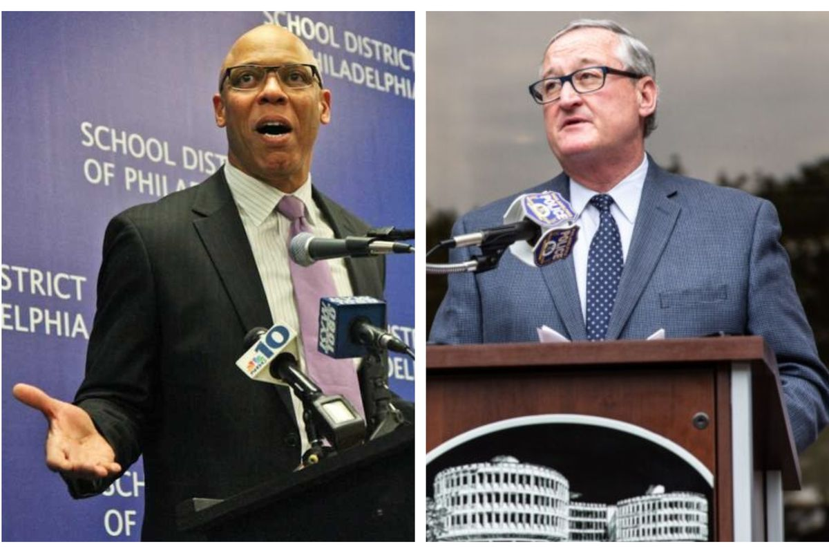 Split image of William Hite speaking at a microphone on the left and Jim Kenney speaking at a microphone on the right.