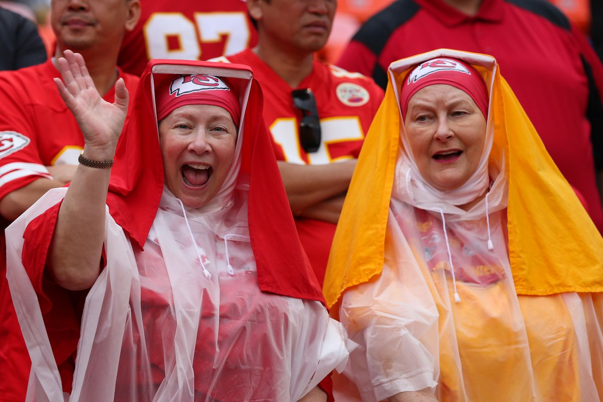 Two Kansas City Chiefs fans in their nun habits and rain gear before an AFC matchup between the Baltimore Ravens and Kansas City Chiefs on September 22, 2019 at Arrowhead Stadium in Kansas City, MO.