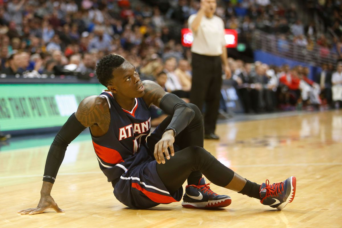 Dennis Schroder during a game vs. The Nuggets