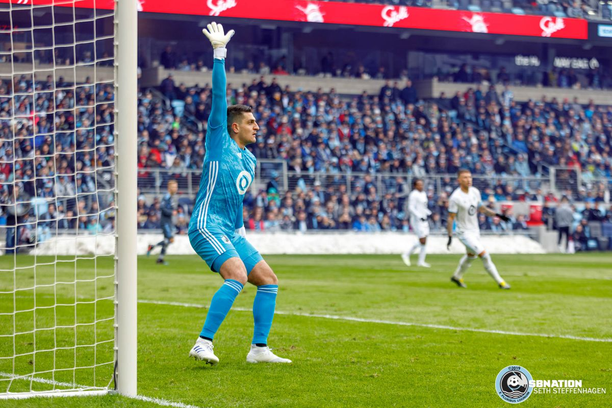 April 13, 2019 - Saint Paul, Minnesota, United States - Minnesota United goalkeeper Vito Mannone (1) gets into position to cover the goal during the Loon's inaugural match at Allianz Field.   (Photo by Seth Steffenhagen/Steffenhagen Photography)